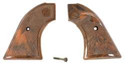Grips, Brown Checkered Plastic w/Thumbrest
