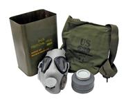Gas Mask, M9A1 -U.S. Military Surplus. Incl. Lens Cleaning Kit, Canvas Carry Bag