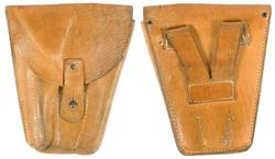Holster, Used Orig, Tan Leather w/Strap, Stud Flap Closure & 2-1/2
