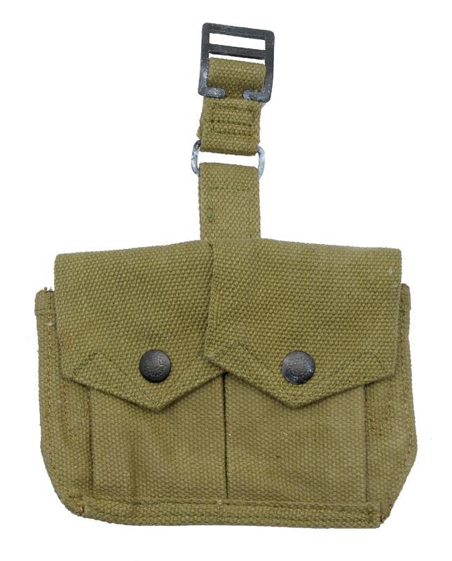Stripper Clip Pouch, Two Pocket, O.D. Green Webbing w/ Hardware, New Unissued