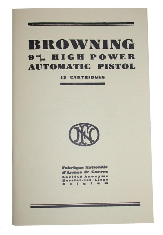 Browning 9mm High Power Automatic Pistol Manual | Gun Parts Corp.