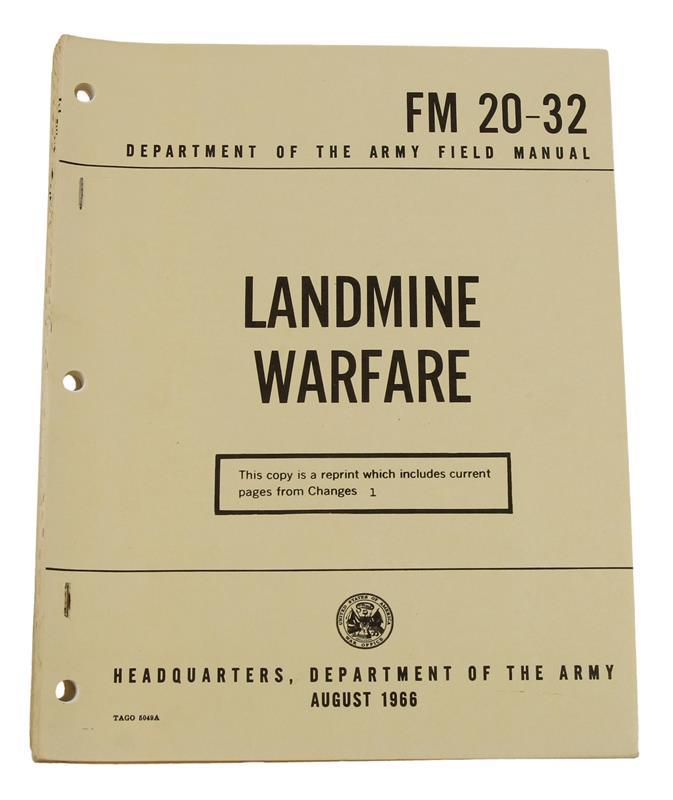 Landmine Warfare Field Manual - Unused, Surplus (FM20-32)