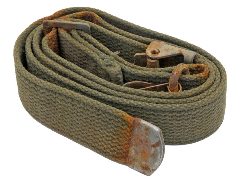 Sling, Canvas, G.I., Used w/ Rusted Metal Hardware (Sold As Is)