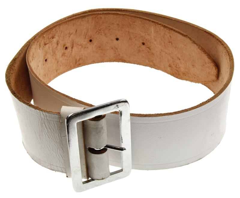 Dress Belt w/ Buckle & Loop, White Leather, 2-1/8