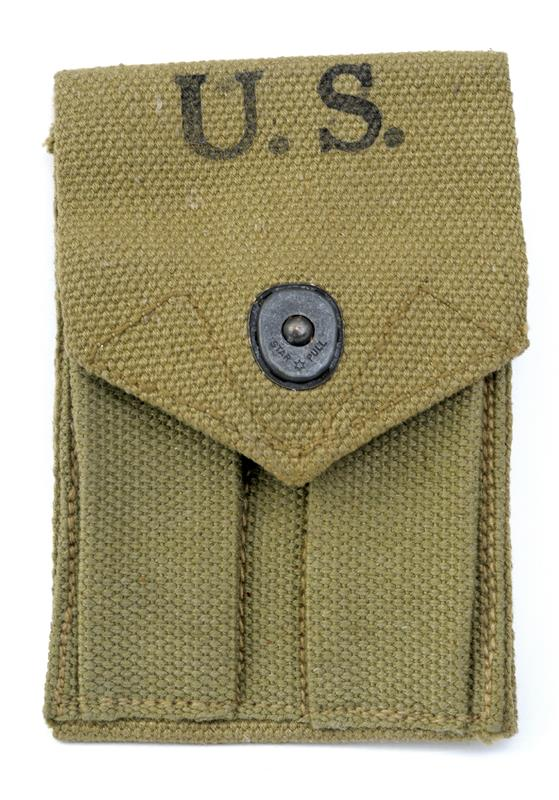 Magazine Pouch, Dual, Original OD Canvas, Marked Avery 1943, Used Exc - Like New