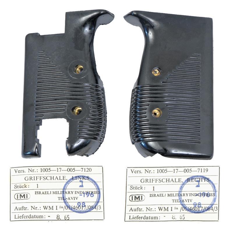 Pistol Grips, Pair, Black Plastic w/ Escutcheons, Original IMI, Unissued