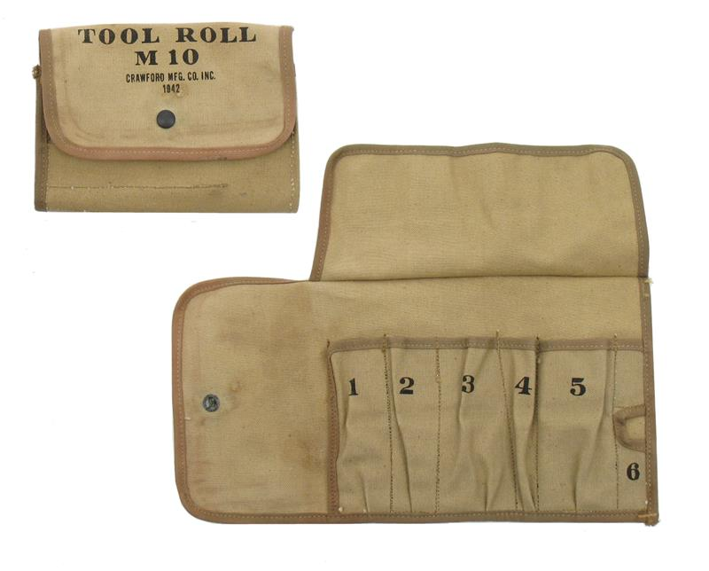 M10 Tool Roll, Khaki Canvas,WWII,Marked Crawford Mfg Co Inc 1942, Unissued, New