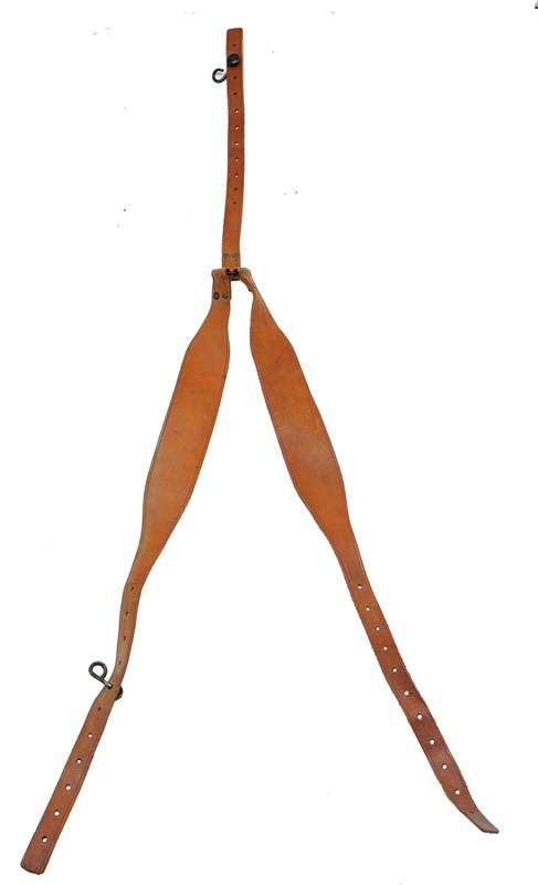 Belt Suspenders, French Military, Tan Leather, Used Good to VG