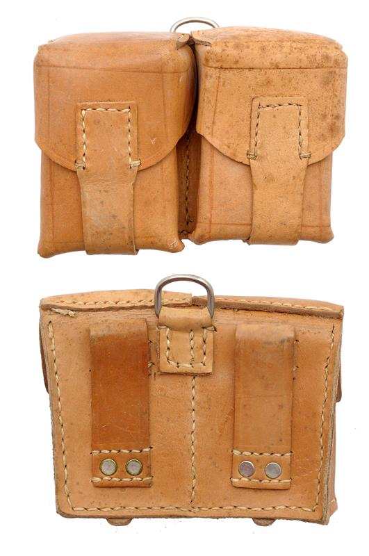 Ammo Pouch, 2 Pocket, Leather, Yugoslavian Issue, Used - Excellent to Like New