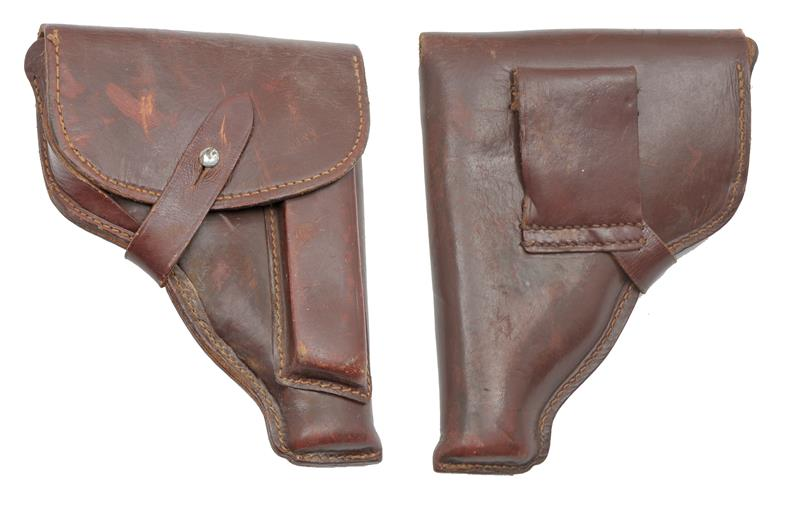 Holster, East German, Reddish/Brown Leather, Stitched Style Belt Loop,Used, Good