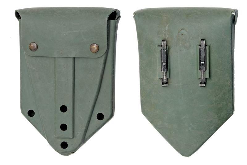 Shovel Cover, U.S., OD Rubber w/ Alice Clips, For Tri-Fold Shovel, Used - Good