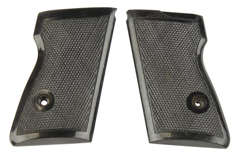 Grips, Black Checkered Plastic w/Escutcheons - No Thumbrest, New Factory Origina