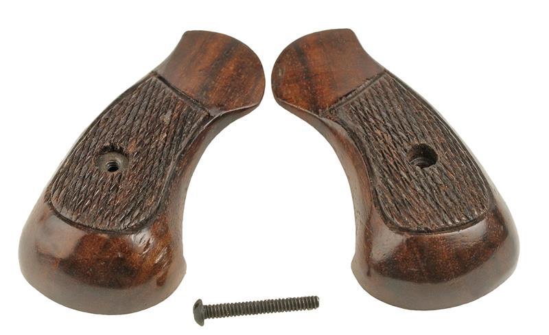 Grips, Round Butt, Brown Checkered Wood