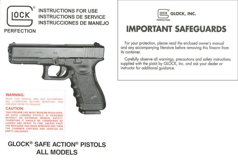 Instructional Manual, Glock, New (English, Italian & Spanish)
