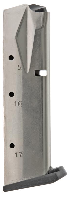 Magazine, 9mm, 17 Round, Nickel, New (Flush Fit; Mec-Gar)