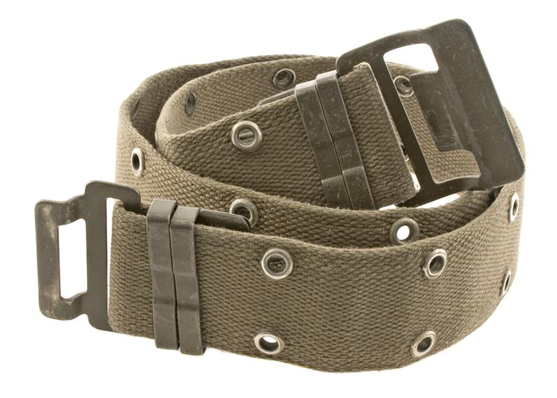 Belgian Military Pistol Belt, Used to Very Good Condition, Green Canvas