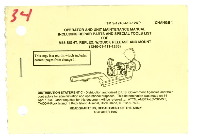 Operator & Maintenance Manual, M68 Reflex Sight (TM 9-1240-413-12&P)