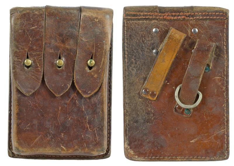Magazine Pouch, 3 Pocket for 9mm 20 Round, Brown Leather
