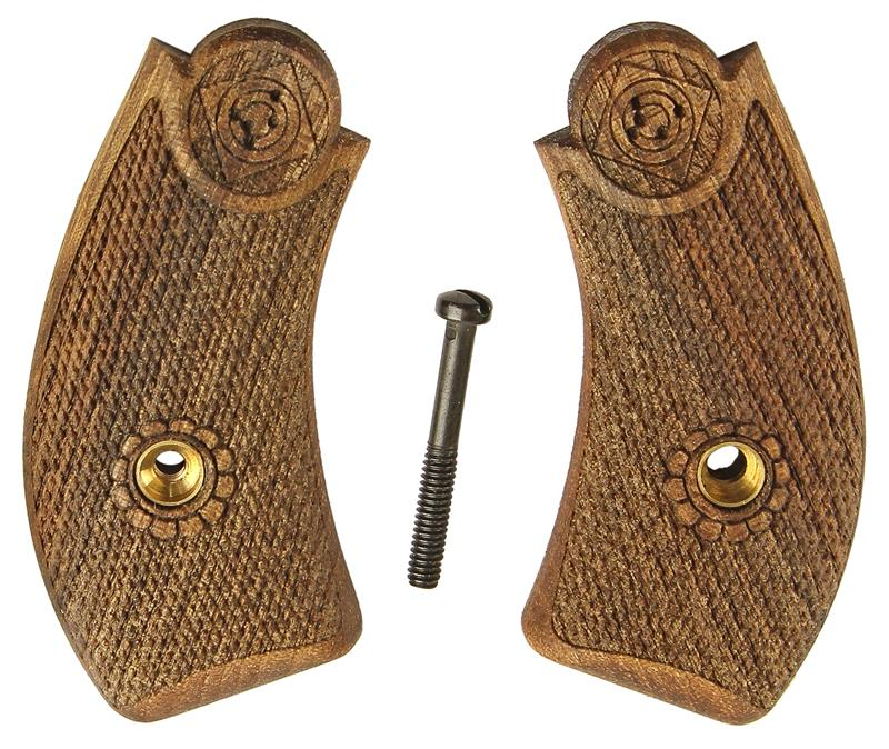 Grips, Walnut, Cut-Checkered w/ Bullseye Logo, Replacement