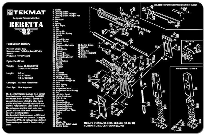 TekMat Handgun Mat, Beretta 92