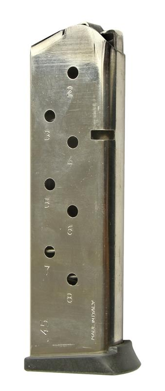 Magazine, .45 ACP, 8 Round, Nickel, Used (w/ Removable Flrplt & Fllwr; Mec-Gar)