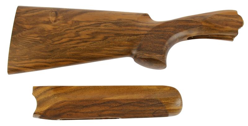 Stock & Forend Set, 12 Ga., LH, 32/42 Drop, Trap, Cut Ckrd Walnut, Oil Finish