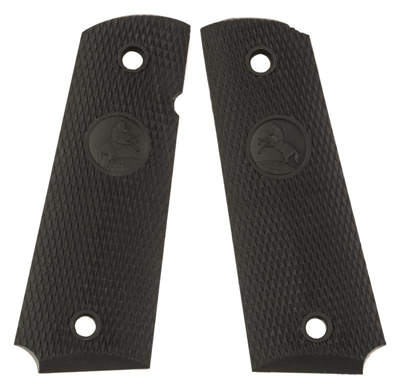 Grips, Black Checkered Rubber w/Rampant Colt Logo, New Factory