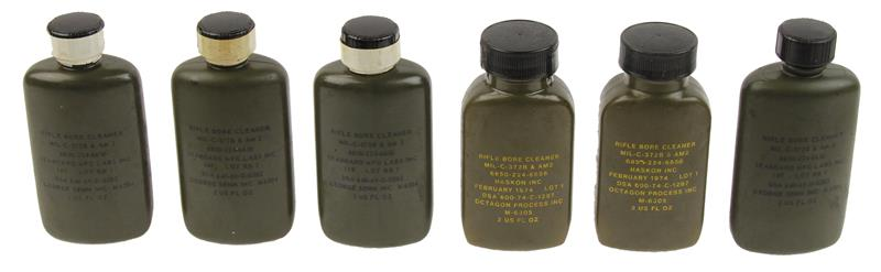 Bore Cleaner Bottles, 2 Oz. w/Screw On Cap, Olive Drab Plastic, Pack of 6