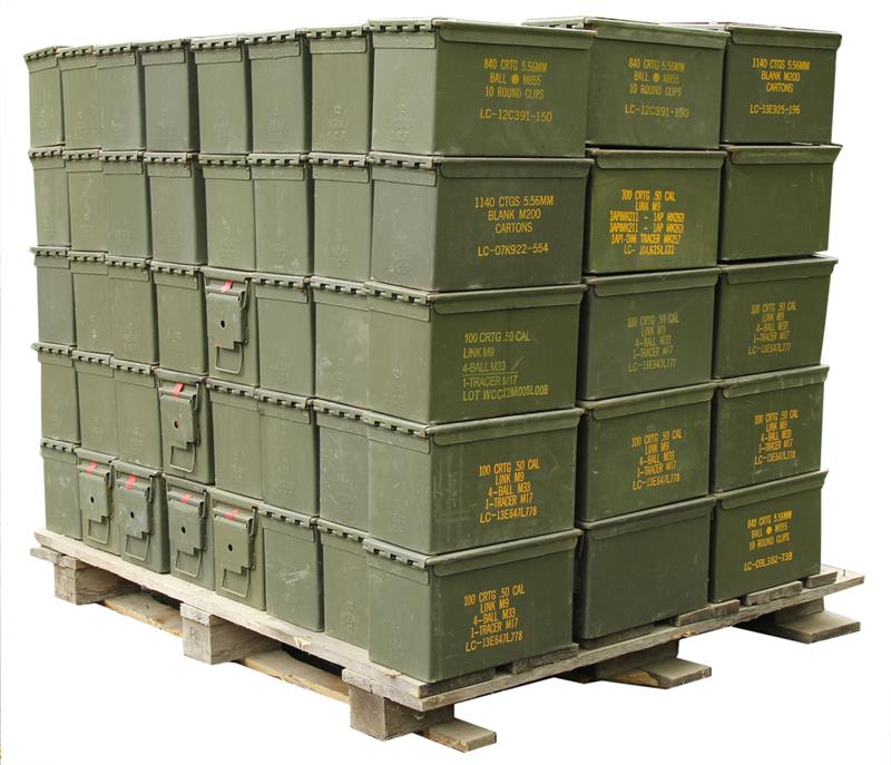 Ammo Can, .50 Cal, OD Steel w/ Hinged Lid. - Pallet of 120 Pieces