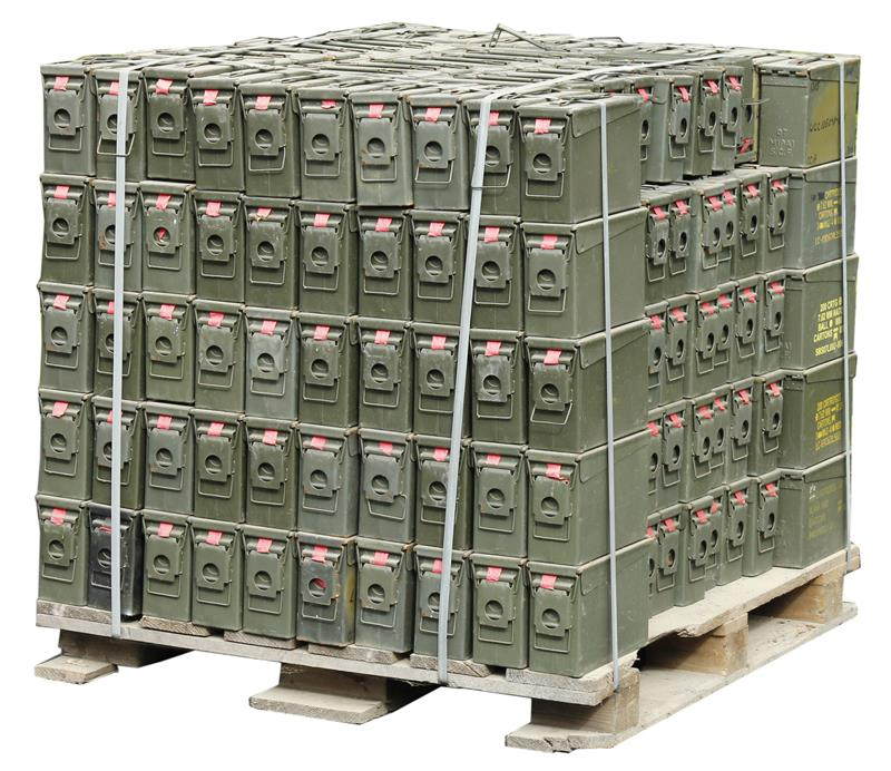 Ammo Can, .30 Cal., OD Steel w/ Hinged Lid - Pallet of 205 Pieces
