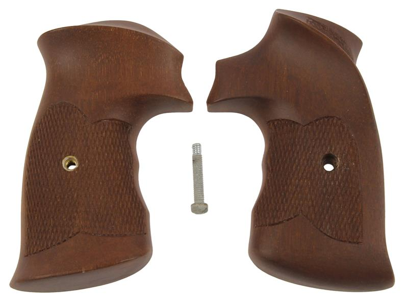 Grips, Square Butt, Target, Checkered, Tropical Hardwood, New, Fitz Mfg.