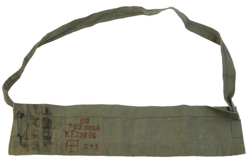 Bandoleer, 7.62mm, 5 Pocket, OD Cloth, Markings/Dates Vary, Used
