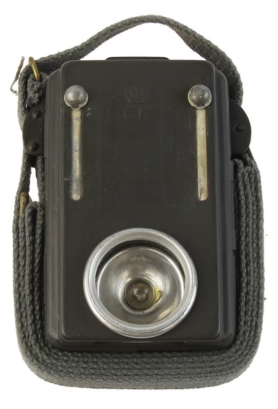 Signal Flashlight, Danish Civil Defense, Canvas Strap, Belt Clip, Used