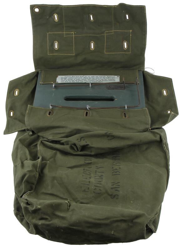 Ballot Bag w/Locking Rod, OD Green Canvas, Used