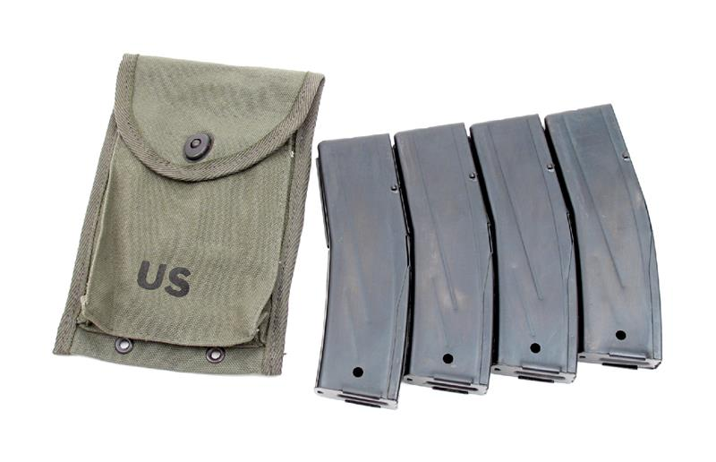 Magazines (4), Replacement, in a 4 Pocket Magazine Pouch, .30 Cal.