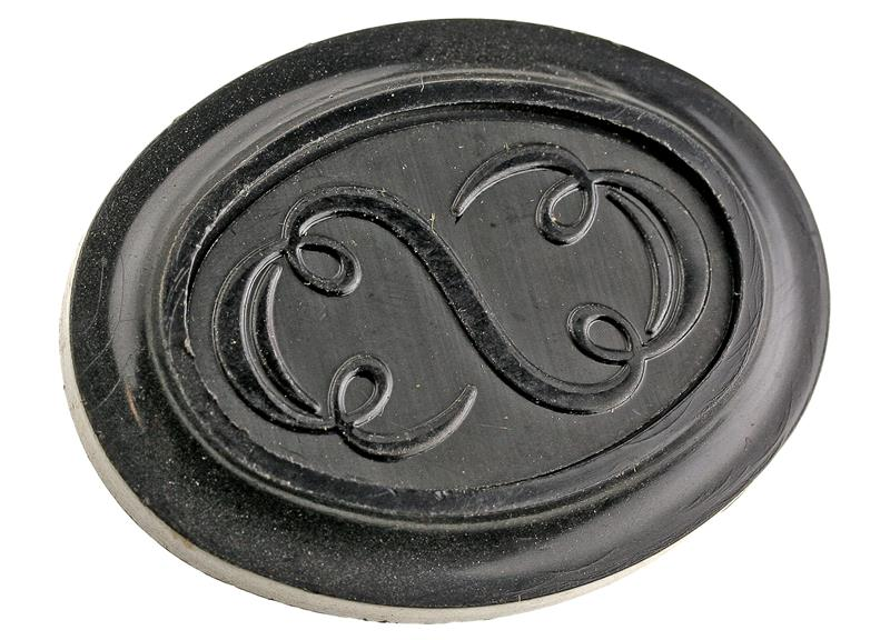 Grip Cap, Decorative Black Plastic (w/ Scroll Insert)
