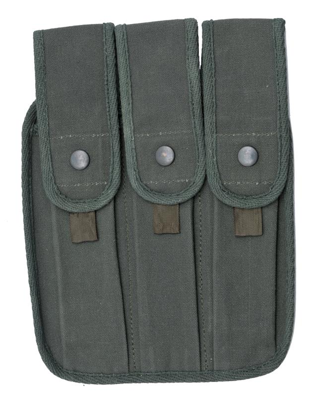 Magazine Pouch, OD Canvas, 3 Pocket for 30 Rd. Magazines, Reproduction