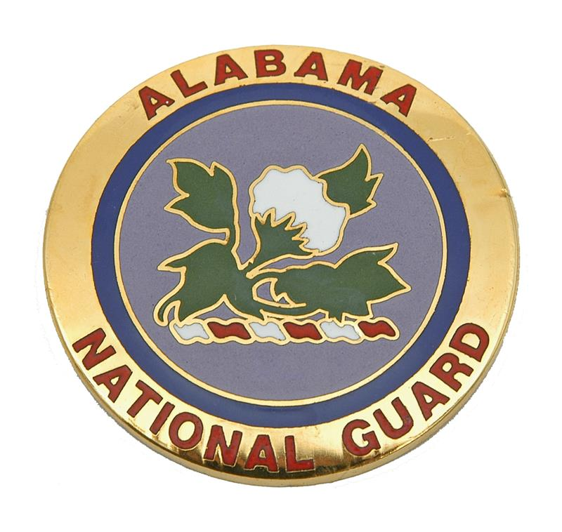 Medallion, Alabama Nat'l Guard - Very Attractively Painted Brass (1-5/8