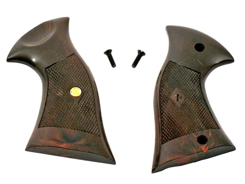 Grips, .38 Cal., Combat - New, Brown Checkered Plastic w/Screws
