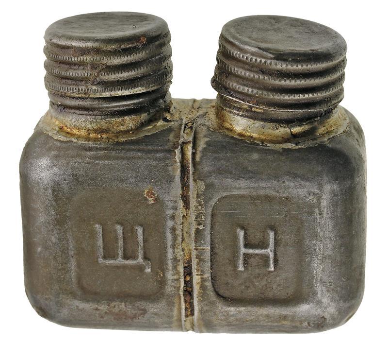 Oil Bottle, Metal (2 Spout; Square)