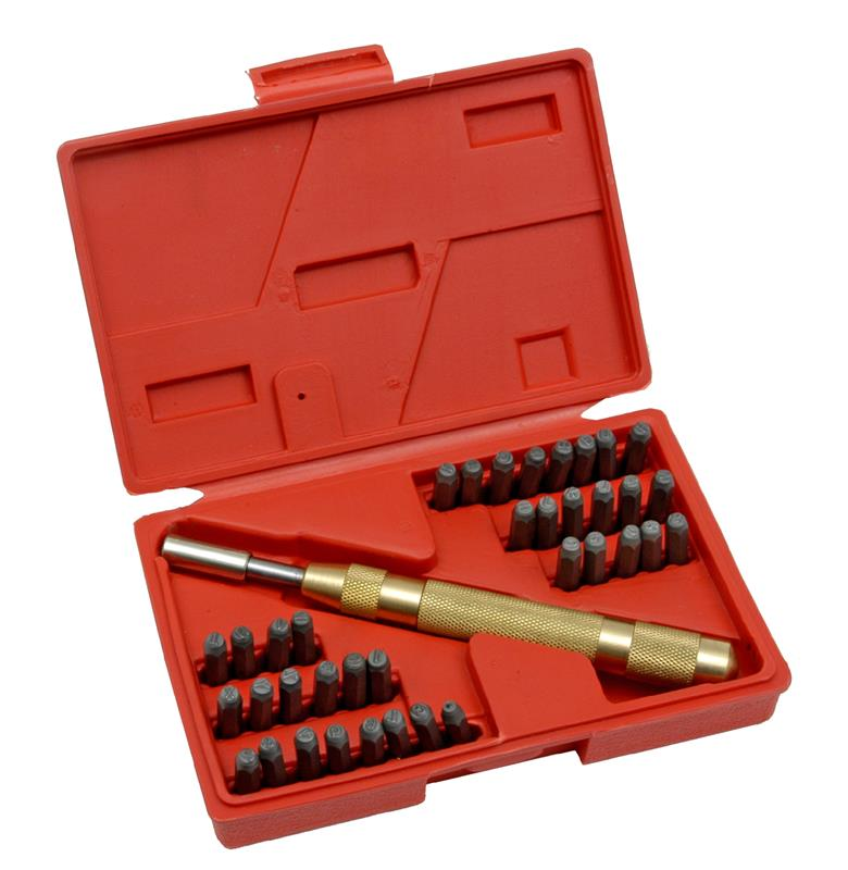 Number & Letter Auto Center Punch Stamp Set