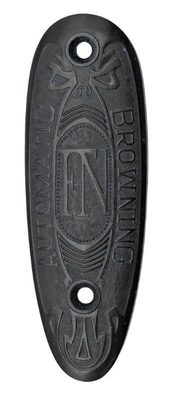Buttplate, Original, Black Plastic (Late Style w/ FN Logo; 8 Serration Pattern)